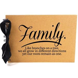 Ribbon, Family Tree Roots, Photo Album, Scrapbook, Blank White Pages, A5