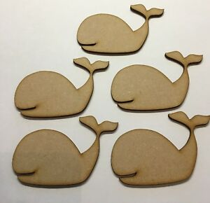 Whale Shape Mdf 5x Size 90mm x 60mm Wooden Craft Decoration