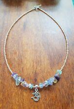Ohm Silver 925 Fluorite Gemstone Bead Pendant Necklace Champagne Gold
