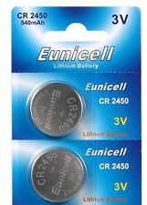 2 x Eunicell CR2450/DL2450 3v Lithium Button/Coin Cell Battery