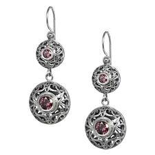 Gerochristo 1569N ~ Sterling Silver & Zircon Medieval-Byzantine Dangle Earring
