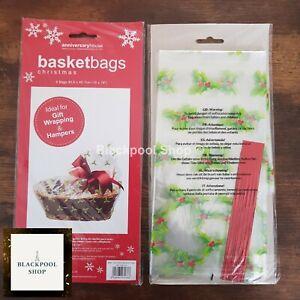 6 x HOLLY HAMPER BASKET Gift Cake CELLOPHANE DISPLAY BAG With Ties