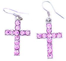 Gold / silver crystal cross earrings. Christian bling! multiple choices