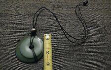 JADE NECKLACE Silver Ball Black Round Pendant Disc Vintage Antique