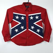 Classic Western Mens L Red White Blue Stars Long Sleeve Button Shirt