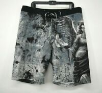 Affliction Men Black Pigeon Print Elastic Drawstring Waist Swim Trunks Shorts 38