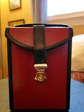VINTAGE LEATHER JEWELRY TRAVEL BOX IN RED AND BLACK