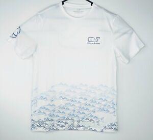 Vineyard Vines Mens Small White Performance T-Shirt Cool Tee Fish Whale Logo S