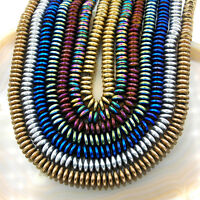 bracelet /& more 6 x 3 mm beaded spacer strand for chain Hematite teal roundel  wheels approx