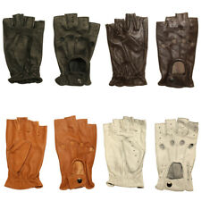 Hombury Leather Half Fingers Gloves for Driving, Dressing Sheep Leather
