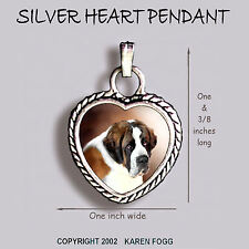 Saint Bernard Dog - Ornate Heart Pendant Tibetan Silver