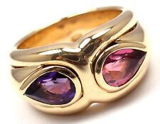 Rare! Authentic Bulgari Bvlgari 18k Yellow Gold Amethyst Pink Tourmaline Ring