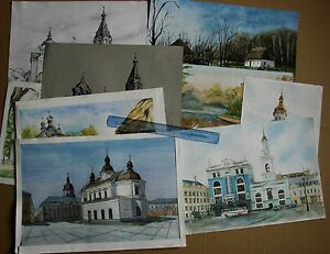Russian Ukrainian Soviet LOT 10 Paintings Cityscape KIEV church Architecture
