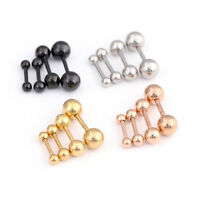 2x Stainless Steel Barbell Cartilage Ear Tragus Helix Stud Bar Earring Piercing