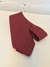 J Press Silk Neck Tie Red with Floral Print Made in England
