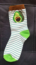 Avocado Socks Striped Face Gift Hipster Size 4-7 UK 37-41 EUR Fashion Emoji UK