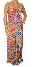 Q New Orange Multi-color Long MAXI Sun DRESS Halter Beach Casual Summer S M L XL
