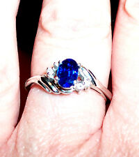 NWOT Kyanite Ring, .25 (approx) tcw w/CZ accents set in 925 Silver; Sz 6.5