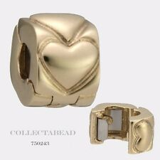 Authentic Pandora 14kt Gold Heart Clip Bead 750243