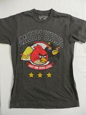 Angry Birds Gray T-Shirt Youth Size Small Just One More Level Red Yellow Black