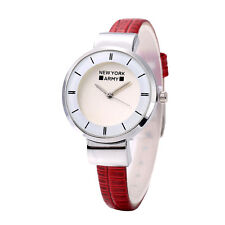 Newyork Army NYA3146 Silver Case Slim Red Croc Leather Strap Watch COD PAYPAL