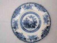 "Antique Veddo England Royal Staffordshire Burslem Flow Blue Pagoda 10"" Plate"