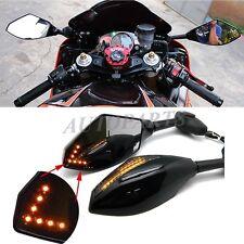 Motorcycle Rearview Mirrors With LED Turn Signal Light For Kawasaki Suzuki Honda