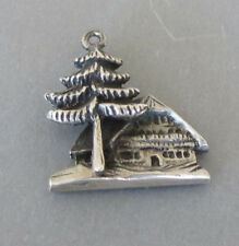 Vintage 800 Silver SWISS SKI CHALET CABIN in WOODS Souvenir Travel Charm 4.0 Gr