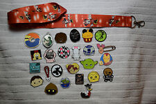 Disney trading 25 pin lot + Red Minnie Mouse LANYARD Mickey Star Wars Tsum more