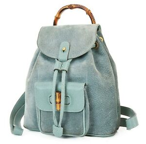 Authentic GUCCI Blue Suede and Leather Bamboo Handle Mini Backpack Bag #38182