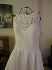 Brautkleid HochzeitskleidIvory A-Linie Satin Spitze Knopfleiste Taschen 40-42