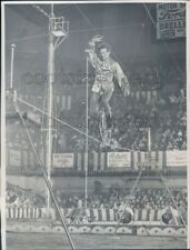 1953 Press Photo Circus Performer Hubert Castle Rides Unicycle on Wire