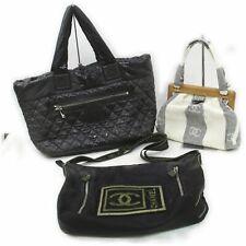 Chanel Nylon Canvas Shoulder Bag Hand Bag 3 pieces set 516923