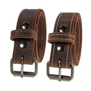 "Men's Genuine Buffalo Leather Belt, 1 1/2"" width, Amish Handmade, Crazy Horse"