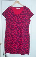 """NICE """"BODEN"""" CERISE PINK & PURPLE FLORAL STRETCH HEAVY JERSEY TUNIC TOP DRESS 18"""