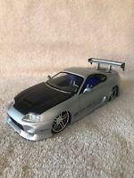 Jada Toyota Supra Import Racer Silver 1:24 Scale Diecast Model Tuner Car VHTF!