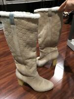 Gucci Monogram GG LOGO Knee High Boots 8.5 RARE! High Heel IVORY Suede Shearling