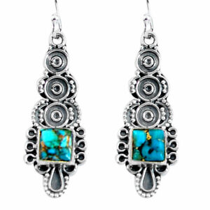 5.03cts Blue Copper Turquoise 925 Sterling Silver Dangle Earrings Jewelry D32473
