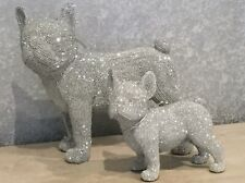 More details for set of 2 silver glitter french bulldogs large and small standing ornaments