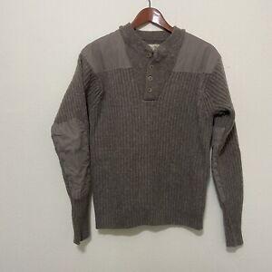 Mens LL BEAN Gray Merino Lambswool Commando Henley Sweater Medium