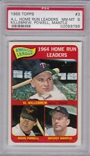 1965 Topps #3 AL HOME RUN LEADERS PSA 8 NM/MT Mickey MANTLE -  CENTERED!