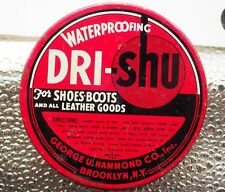 DRI shu shoe polish tin boots leather waterproofing advertising vintage can