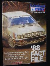 Flyer Lombard RAC Rally November 20th-24th 1988 '88 Fact File