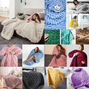 Super Large Chunky Knit Throw Blanket Soft Bulky Hand-Made Bed Sofa Throw Mat