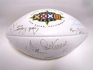 Joe Montana Hershel Walker Paul Krause Bergey Signed Autographed Football Ball