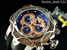 Invicta Reserve Mens 52mm Swiss Venom Dragon Rose-gold Blue Dial Strap Watch