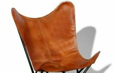 BKF Handmade Vintage Tan Leather Butterfly Chair Relax Armchair Only Cover
