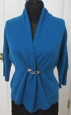 NWT Neiman Marcus Fine Knit Long Blue Cashmere Cardigan Sweater - Large