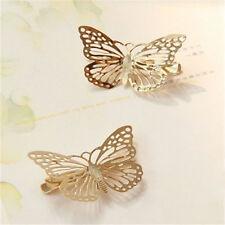 1 Par Pasador Pinza Horquilla Mariposa De Oro Brillante Cabello Pelo Clip
