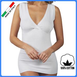 Canottiera intima donna con forma seno 100% COTONE Canotta  intimo da reggiseno